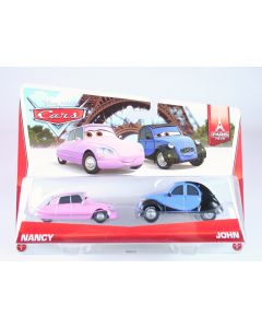 DISNEY CARS Paris Tour 2 pack NANCY + JOHN 1:55 diecast toys Pixar - NEW!
